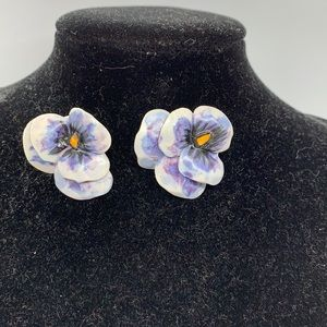 Pierced earrings - fashioned from clay. Pansies